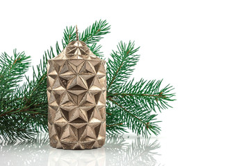 Christmas decorations, Christmas candle on white background