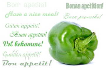 Green bell pepper on white background