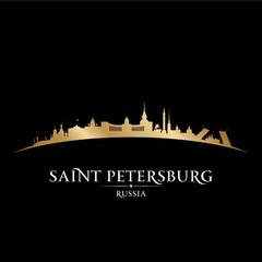 Saint Petersburg Russia city skyline silhouette black background
