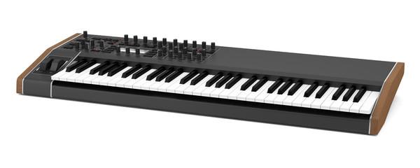 black synthesizer isolated on white background