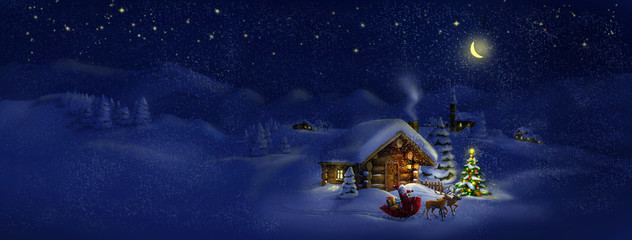 Santa with presents, deers, Christmas tree, hut. Panorama