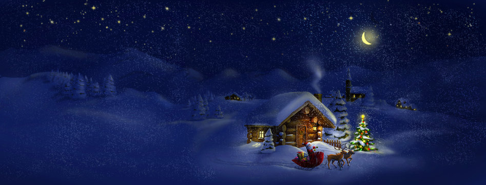 Santa with presents, deers, Christmas tree, hut. Panorama