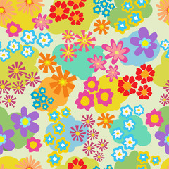 Seamless pattern with bright multicolored flowers