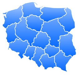 Map of Poland blue