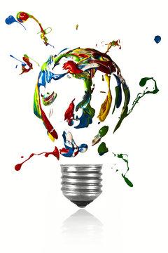 Paint explosion of light bulb