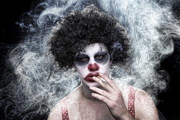 Spooky Clown Portrait on Black Background