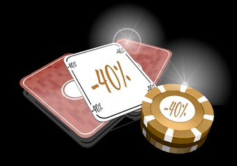 Illustration of a golden discount icon  on poker cards