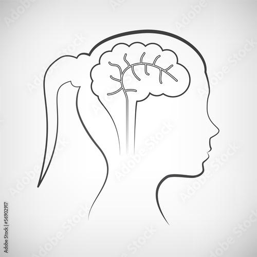 Frauenkopf mit Gehirn Kontur\