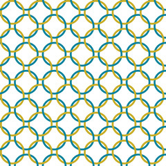 Teal and Gold Interlaced Circles Textured Fabric Background