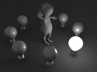 3d man choice concept idea light bulb in dark