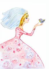 Wall Mural - watercolor painting of girl
