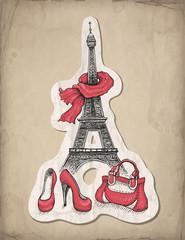 Poster Illustration Paris Fashion illustration. Eiffel Tower, shoes and handbag
