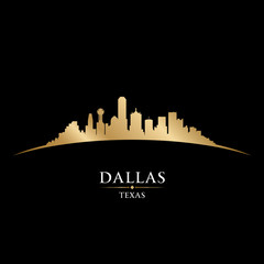 Wall Mural - Dallas Texas city skyline silhouette black background