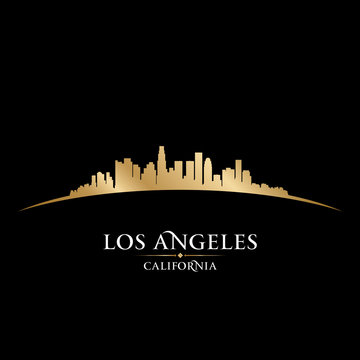 Los Angeles California city skyline silhouette black background
