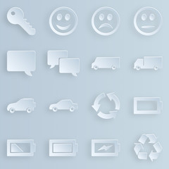 Obraz Papierowe ikony, biznes, sklep, e-commerce - kolekcja - fototapety do salonu