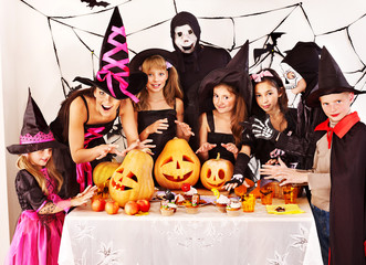 Wall Mural - Halloween party with children.