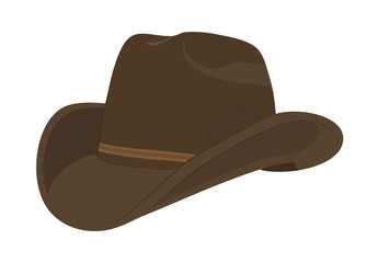 Brown cowboy hat. Vector illustration.