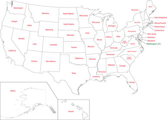 Outline USA map