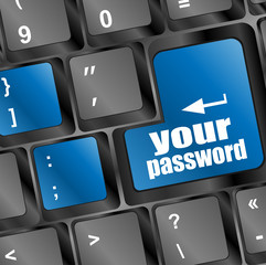 your password button on keyboard - security concept