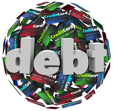 Debt Word Credit Card Ball Bankrupt Money Problem