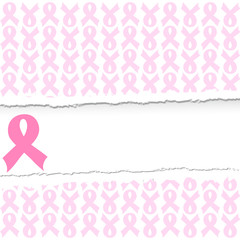 vector illustration of a pink ribbon breast cancer support backg