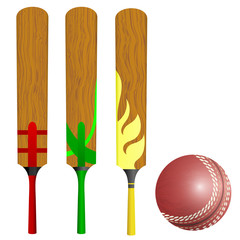 Cricket bats and ball