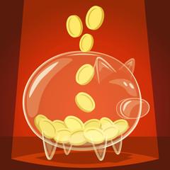 Glass piggy bank. Vector illustration.
