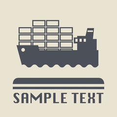 Container ship icon or sign, vector illustration