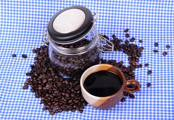 coffee beans in bottle