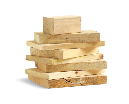 Stack of wood scrap isolated on white background