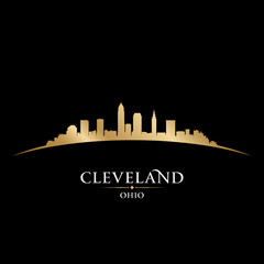 Cleveland Ohio city skyline silhouette black background