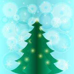 Xmas card with fir tree