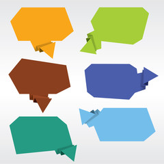 Collection of Origami Speech Bubble Vector.EPS 10