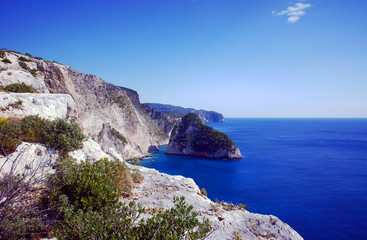 cliff with rocks on the Greek island of Zakynthos