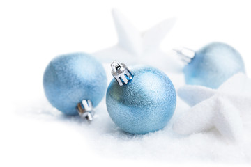 christmas decoration over snow isolated
