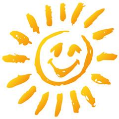 Kleine lustige Sonne und Sonnenschein