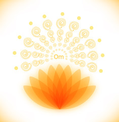 Shiny image with lotus. Buddhistic banner