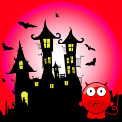 halloween with devil cartoon vector illustration