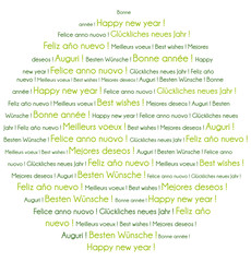 Green Happy New Year in several languages word cloud.