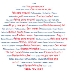 Red and blue Happy New Year in several languages word cloud.