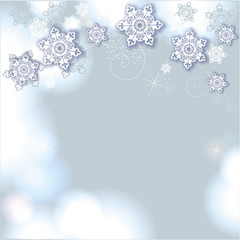 Hintergrund in blau mit Schneeflocken