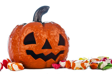 Halloween pumpkin with candies