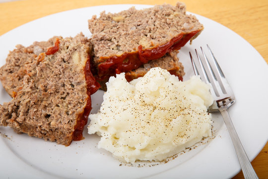 Meatloaf and Mashed Potatoes with Fork