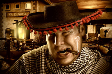 Serious cowboy mexican at night