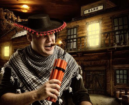 Serious cowboy mexican firing dynamite by cigar
