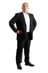 earnest business man over white