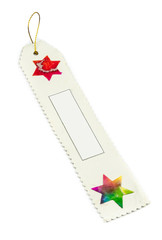 white bookmark or present tag made of mulberry paper