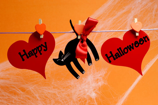Happy Halloween black cat and red hearts bunting