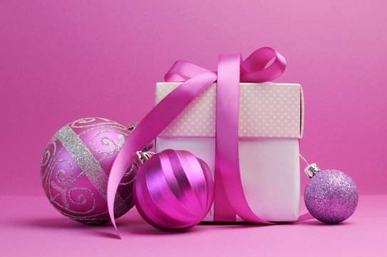 Pink theme Christmas gift and bauble decorations