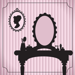 Dressing table silhouette with women accessories